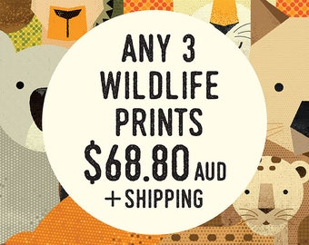 "Any 3 (8"" x 10"") Wildlife of Australia, Africa & Asia, Animal Nursery Prints, Set Prints Nursery Wall Art, Kids Poster, Animal Illustrations"