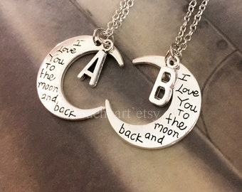 I love you to the moon and back necklace,Initial Necklace,moon necklace, i love you necklace, bestfriends necklace, His & Hers Jewelry