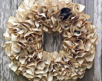 "Harry Potter Wreath, Paper wreath, 20"" wreath, Book Wreath, Harry Potter"