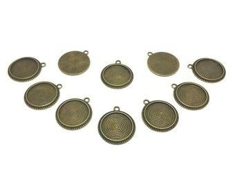 30 Cabochon spiral Bronze plate 20mm bottom brackets