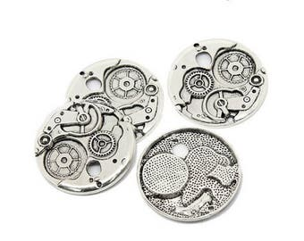 5 charms gears Steampunk silver 38mm Matt