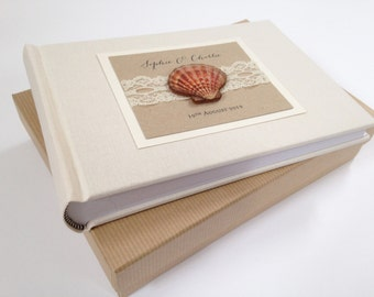 Beach Wedding Photo Album, Honeymoon Album, Wedding Photo Album, Linen Photo Album, Small Photo Album