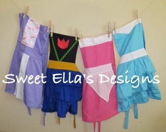Disney Apron Collection / 4 for 44 / Disney Princess Apron / Play Apron / Elsa / Aurora / Tinkerbell /Disneyland Outfit