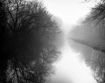 D&R Canal Lambertville New Jersey on Foggy Morning HD black and white photo print 8x10""