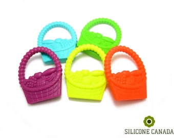 Large Fruit Basket Silicone Teether, BPA Free FDA Approved Food Grade Teething Toy.  Baby Chew Jewelry DIY Supplies. Wholesale Canada.