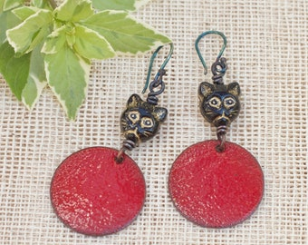 Red enamel earrings, Copper jewelry,  Enameled copper earrings, Cat earrings,  Sterling silver hooks ear wires,  Handmade enamel jewelry