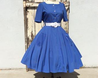 80s 1950s Style Super Full Blue Dress Large XLarge