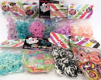 Loom Band Rubber Bands 50 Packs of 300 ct Rubber Bands with 12 Clips Per Package