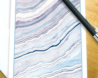 Agate Watercolor Note Cards, Beach Note Cards, Watercolor Stationery Set, Coastal Stationery, Agate Thank you Cards , Beach Stationery Set