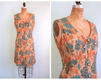 Vintage 1960's Turquoise and Copper Daisy Dress  | Size Medium