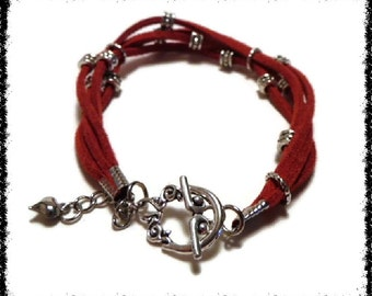 Red Boho Leather and Silver Bead Bracelet