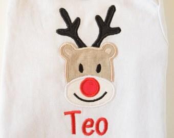 Custom Baby Christmas onesie / Embroidered baby  onesie / baby Rudolph /