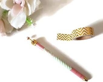 Coral crown pen, gold crown pen, ballpoint pen, coral and green stripe pen