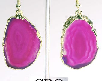 Gold Plated Pink Agate Slice Earrings (AE13BT)
