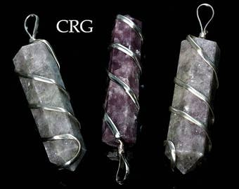 Lepidolite Point Pendant in Silver Plated Spiral (PP40DG)