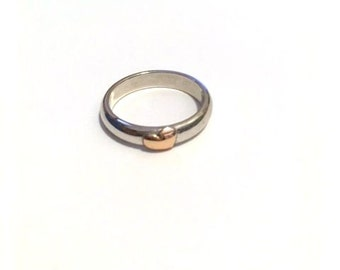 Classic band ring silver glossy rose gold heart 925.000 handmade