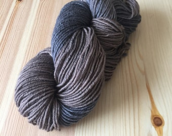 Woodsmoke worsted weight BFL hand dyed wool yarn limited time sale