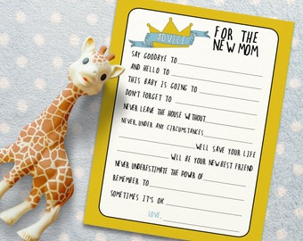 Advice for New Mom - Baby Shower Activity for Where the Wild Things Are. Baby Shower Game. *INSTANT DOWNLOAD*
