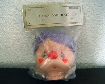 """4"""" Clown Doll Head and Hands with Purple Yarn Hair New in Package – Wang's International Style PDH3183 025 - Vintage Doll Craft Supply"""