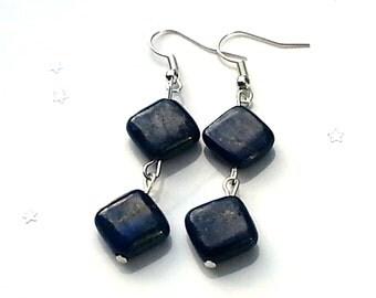 Sale lapis lazuli earrings - blue earrings - gemstone earrings - sterling silver earrings - gift for her