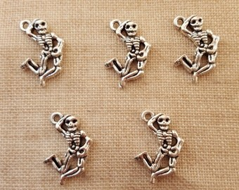 Skeleton Charms x 5.  Day Of The Dead. Halloween Charms. Anatomy Charms. Tibetan Silver Tone. UK Seller