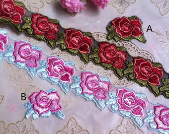 2 Yards Lace Trim Floral Embroidered  embroidery Tulle Lace 1.77 Inches Wide High Quality  YL517