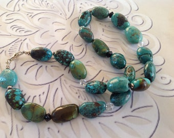 Jewelry Turquoise Genuine Blue Green Nugget Bead Necklace with lobster clasp closure.