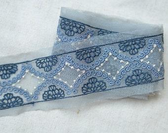 "20 meter 3.8cm 1.49"" wide blue mesh embroidery lace trim ribbon L9K925F328 free ship"