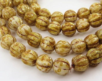 Czech Beige Picasso 8mm Melon Beads Round Carved Pressed White Beads Caramel Brown Picasso Glass 30 BeadsPRE8MEL001