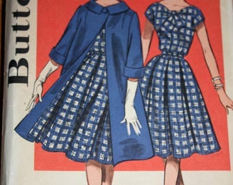 Chic Vintage Swing Coat and Dress Pattern---Butterick 9663---Size 16 Bust 36  UNCUT