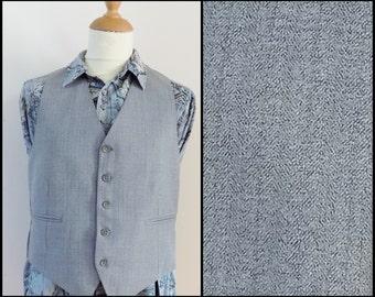 Mans grey vest waistcoat smart fitted vest waistcoat size medium