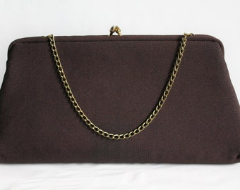 Brown Cloth Clutch Purse  by HR, Formal Evening Bag , Gold Chain Strap
