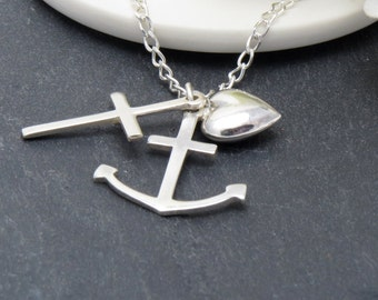 Silver Faith, Hope, Charity, Charm Necklace, Faith Hope Love Necklace, Religious Jewelry, Sterling Silver Cross Necklace,