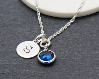 Personalized Handstamped  Silver Necklace, Silver Initial Birthstone Crystal Necklace, Handmade Necklace