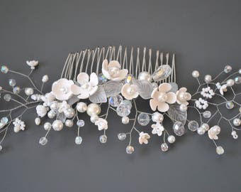 wedding hair piece floral hair comb