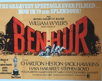 1969 Original Ben Hur Quad Film Poster starring Charlton Heston and Jack Hawkins
