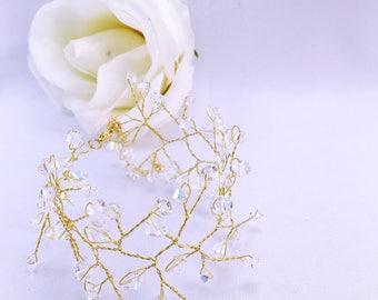 Wedding lace Crystal bracelet gold