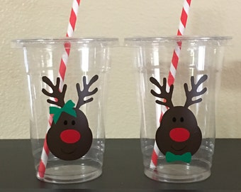 Christmas Party Cups, Reindeer Party, Christmas party favors
