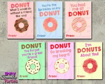 DONUT VALENTINE CARDS - Printable Valentine Cards - Donut Valentines - School Valentines - Classroom Valentines - Valentine's Day Cards diy