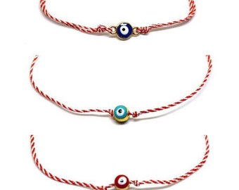 """Lucky charm """"March""""bracelet with evil eye beads"""