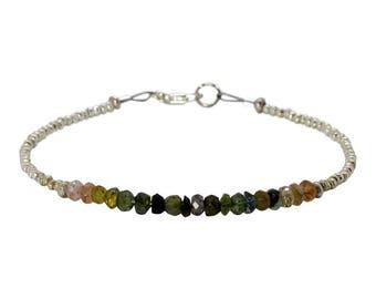 Tourmeline and Sterling Silver Beaded Strand Bracelet