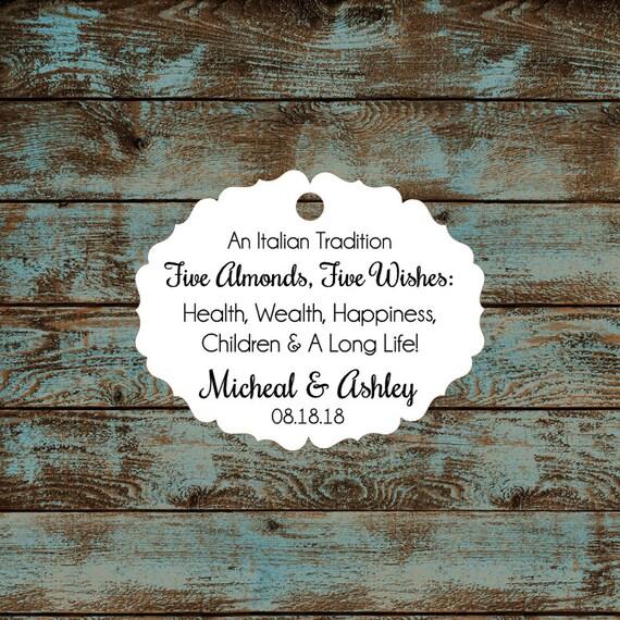 Italitan Wedding Favor Tags, Jordan Almond Favor Tags, Sugared Almond Favor Tags, Five Wishes Poem Favor Tags #656 Qty: 30 Tags