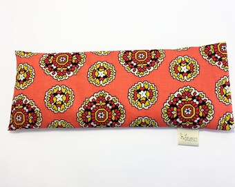 Corn Eye Pillow, Cold Pack, Yoga Eye Pillow, Removable Cover, Coral Blooms
