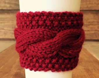 Cardinal Coffee Sweater - Knit Cabled Coffee Cozy - Red Coffee Cozy– Cable Coffee Cozy – Knit Coffee Cozy