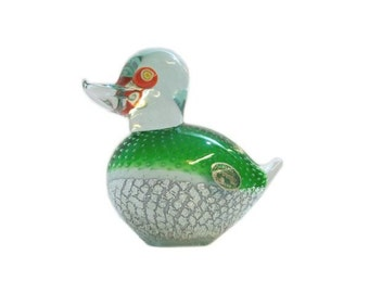 Murano Green Duck Bird  Paper Weight with Controlled Bubbles and Silver Flecks