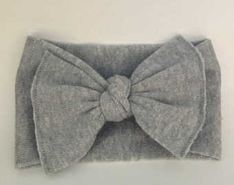 Silver sparkle sweater knot bow