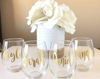 Personalized Stemless Wine Glass 15oz, with Names, for Bridesmaid, Bachelorette, Shower, Bride, Wedding