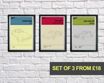 James Bond prints, Bond Cars Set of 3 prints, 007 poster print, Mid Century Modern, Typography Print, Childrens Bedroom Art, Gift for Him