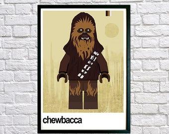 Star Wars Poster, Chewbacca Framed Print, Framed Star Wars Print for Kids Bedroom, Star Wars Posters Framed