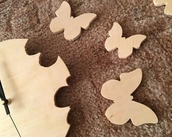Hand cut Wooden Butterfly Clock